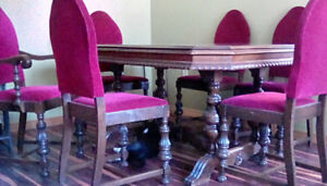 Antique dinning set with 6 chairs cherry red/pink velvet,gr cond