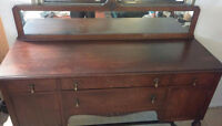 Louis XVI Style-Solid Oak Side Board-Hand Crafted-W/Wheels-80yrs