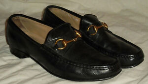 GUCCI Men's Shoes Black Italy All Leather Size 43-1/2 M (9M US)