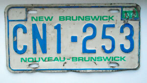 Vintage License Plate - New Brunswick - 1987/91 - CN1-253