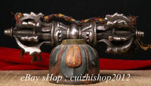 "13"" Old Buddhism Iron Painting Skull Head  Faqi Phurba Dagger Statue"