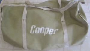 Vintage C.C.M. and Cooper Hockey Equipment and Cooper Gear Bag