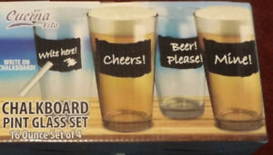 Chalkboard Pint Glasses -NEVER USED