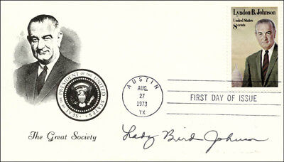 LADY BIRD JOHNSON - FIRST DAY COVER SIGNED