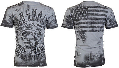 Archaic By Affliction Mens T Shirt Racer American Customs Usa Flag Biker  40 A