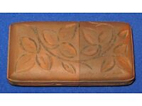 Antique Victorian Hand Carved Swiss Pine Wood Vesta Case with Match Striker Base nice collectible