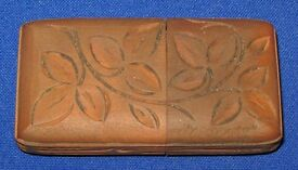 Antique Victorian Hand Carved Swiss Pine Wood Vesta Case with Match Striker Base