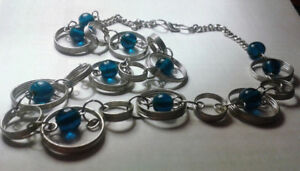 Silver hoops and blue beads - bold and stylish neckalce