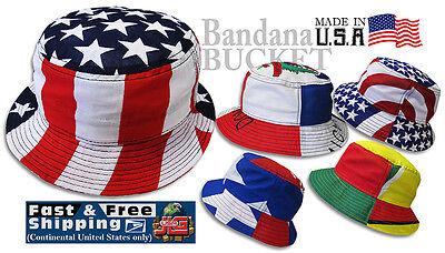 Flag Bandana Bucket Hat (Various Country) Cotton, JLGUSA S|M - L|XL USA Made - Bandana Bucket Hat