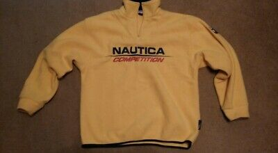 NWOT VTG 90s Nautica Competition Zip NauTech Fleece Sweater Logo Mens XL Yellow