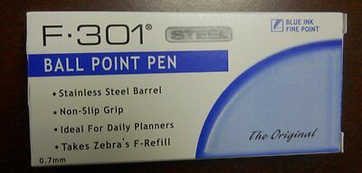 Zebra F-301 Blue Ballpoint Pens Dozen 12 Pack 0.7mm Brand New Fresh Stock