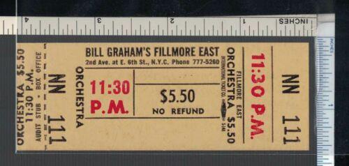 FILLMORE EAST Concert Ticket; Unused Blank Never Issued-Ultra Rare; Bill Graham