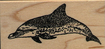 "mounted rubber stamp    Spotted Dolphin  small size  wood mount 1 1/2"" X 2 3/4"""