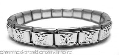 Princess Tiara Crown 9mm Italian Charm Shiny Stainless Steel Starter Bracelet