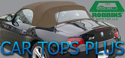 """2003-2008 BMW Z4 Convertible Top & Heated Glass """"Robbins"""" TAN Stayfast Cloth"""