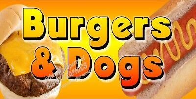 CHEESE BURGERS AND HOT DOGS VINYL BANNER (CHOOSE YOUR SIZE) FULL COLOR NEW