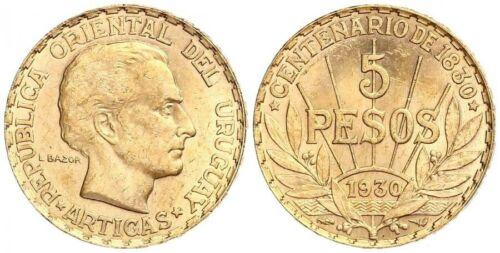 1930 Uruguay Gold 5 Pesos (.2501 oz) - BU