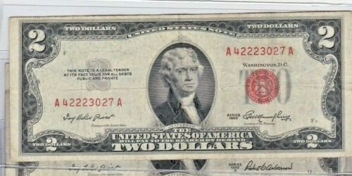 1953 RED SEAL $2 US NOTES 1953 series