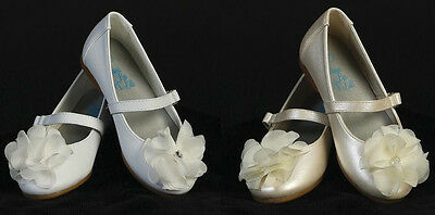 New Baby Toddler Girls Infant Ivory White Dress Shoes Flats Wedding Party - Girls Ivory Flats