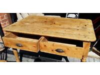 Antique pine farmhouse table and chairs