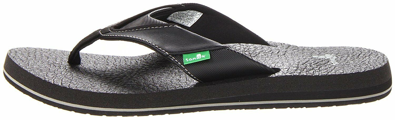 NEW Sanuk Men's Black Beer Cozy Thong Flip-Flop Beach Sandal