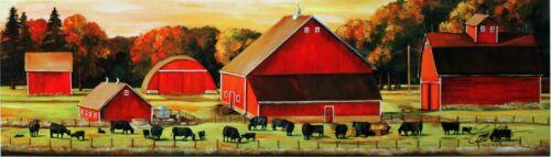 Large Black Angus Cattle Cows Autumn Pastures Art Print Landscape Barns Picture