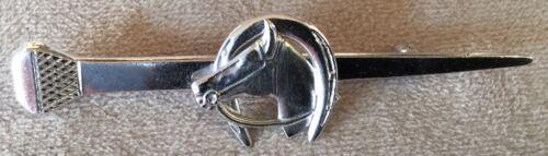 Horseshoe Nail Horseshoe and Horse Head Sterling Silver Pin Stockpin