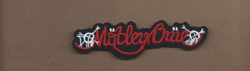 NEW 1 1/4 X 4 5/8 INCH MOTLEY CRUE IRON ON PATCH FREE SHIPPING