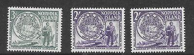Norfolk Island -1956 Sc/SG19 and 20 including Sc/SG20 dot in corner print error