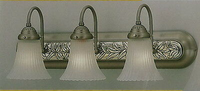 Satin Silver With Antique Silver Insert And Frost Ribbed Glass 3 Light Bath