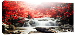 RED TONED AUTUMN FOREST WATERFALL BOX CANVAS 3cm depth frame 113 CM x 52CM