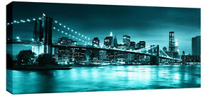 Large Teal Turquoise Brooklyn Bridge Canvas New York Wall Art 113cmx 52 cm