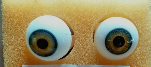 LAUSCHA GLASS HAND BLOWN  DOLL EYES IN TOPAZ VARIETY OF SIZES