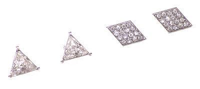 Chrome Pyramid Stud (2 Pairs-single Diamante Chrome Pyramid/Diamond Diamante Stud Earrings(Ns19))