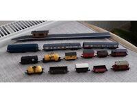 N Gauge model railway Loco, 2 coaches, 11 wagons and Island platform., used for sale  Harleston, Norfolk