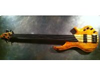 Hudson Project Bass 4 String Fretless Spalt Maple finish with case