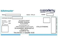 DIZZEE RASCAL~NEWCASTLE~02 ACADEMY~STANDING TICKETS~100% TRUSTED SELLER