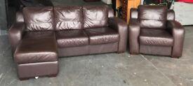 Brown Leather Corner Sofa Set. CAN DELIVER