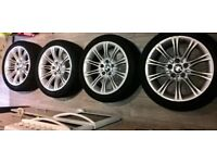 4 X GENUINE BMW 5 SERIES E60 M SPORT ALLOY WHEELS WITH TYRES 18 INCH