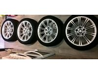 4 x genuine bmw 5 series e60 m sport alloy wheels with tyres