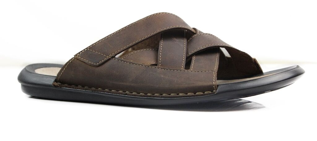 3038ac610bf0 Details about MENS HUSH PUPPIES PETER BROWN LEATHER WIDE SANDALS SUMMER  THONGS SHOES