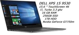 DELL XPS 15 9530 15.6'' QHD (4K) TouchScreen Intel i7 turbo 3.3GHZ, 16GB , 256GB SSD+ 1TB , Nvidia GeForce GT 750M