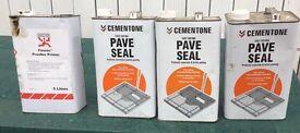 Cementone pave seal, three 5l tins plus Fosroc proofex primer 5l tin