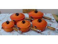 Le Creuset Saucepan Set in Volcanic Orange, Very Good Condition.