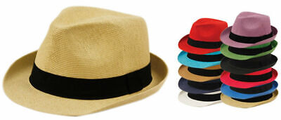 Straw Fedora Hat Cuban Short Brim Trilby Summer Beach Sun Panama Gangster Cap - Gangster Fedoras