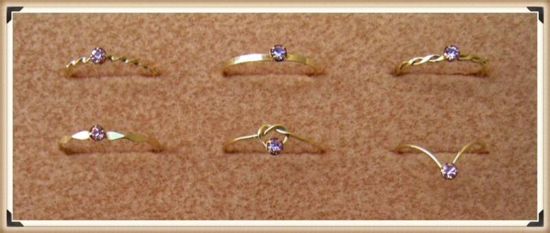 Pack of 36 GOLD FILLED WIRE RINGS with PINK AUSTRIAN CRYSTAL SETTINGS.(1804P-GF)