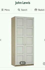John lewis 2 door wardrobe grey ash & pale grey panels with mirror