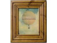 VINTAGE WAXED OAK PICTURE 'HOT AIR BALLOON