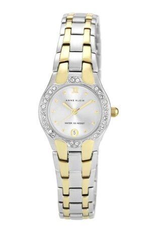Anne Klein Watch * 6927SVTT Crystals Two Tone Gold Silver Steel Date Watch Women