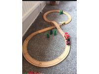 Brio / compatible wooden train set with bridge and accessories